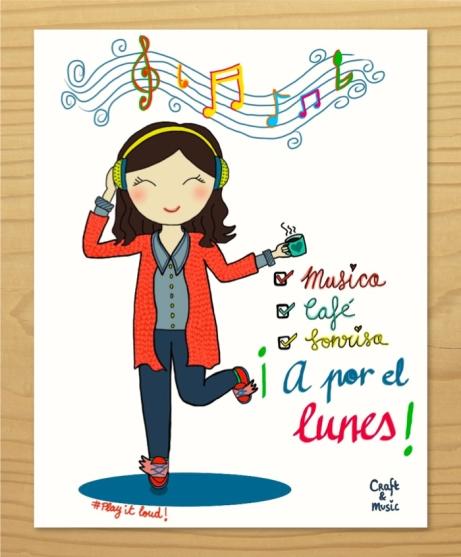 A por el lunes música café sonrisa ilustraciones