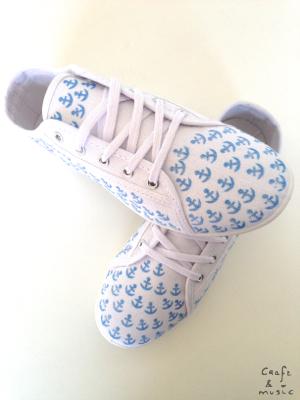 Zapatillas print anclas DIY resultado 2