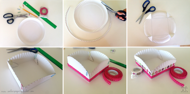 cesta plato de papel paso a paso