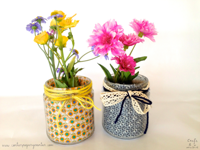 tarros de cristal decorados con flores